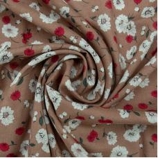 Ткань на отрез штапель 150 см 49575 Цветы на бежевом