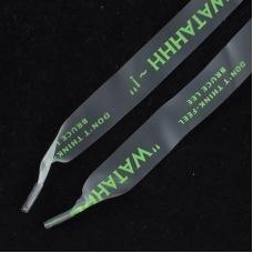 Шнурки силиконовые зеленая надпись 130см уп 2 шт