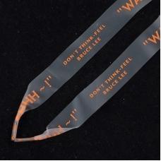 Шнурки силиконовые оранжевая надпись 130см уп 2 шт