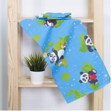 Набор вафельных полотенец 3 шт 35/75 см 375/1 Панда цвет голубой