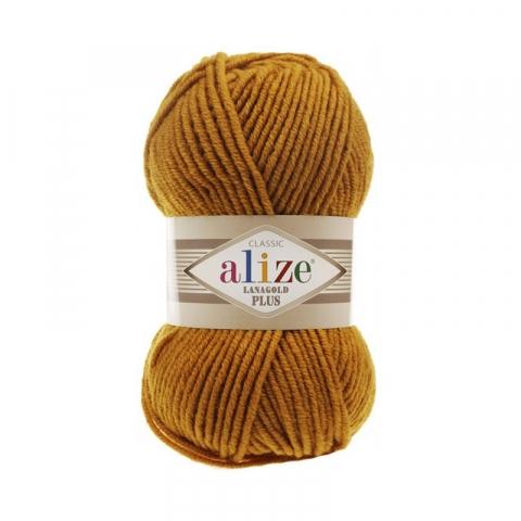 Пряжа ALIZE LANAGOLD PLUS 645-горчичный (49% шерсть 51% акрил)