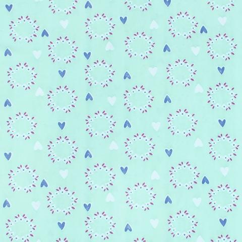 Ткань на отрез кулирка карде Сердечки на мятном 3248-V2