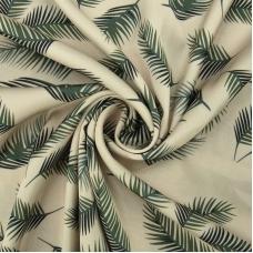Ткань на отрез шелк 150 см D1907 Листья пальмы на молочном
