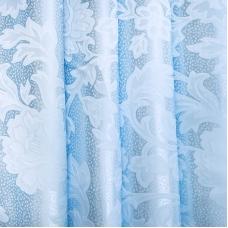 Портьерная ткань 150 см на отрез 17 цвет голубой ветка