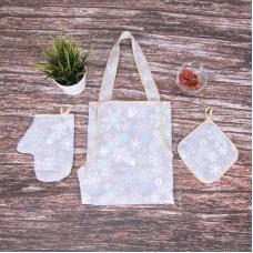 Кухонный набор из рогожки - фартук/прихватка/рукавичка 11808/1 Льдинка