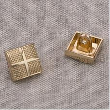 Пуговица металл ПМ63 10мм золото квадрат уп 12 шт