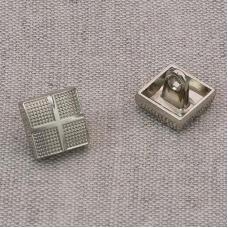 Пуговица металл ПМ63 10мм никель квадрат уп 12 шт