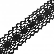 Кружево лен 2200 Черный 2,0см 1 метр