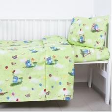 Постельное белье в детскую кроватку 315/3 Слоники с шариками зеленый ГОСТ