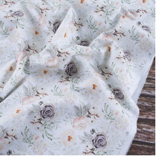 Ткань на отрез перкаль 150 см 306/1 Птички цвет хаки