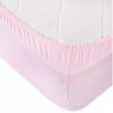 Простыня трикотажная на резинке Премиум цвет светло-розовый 120/200/20 см