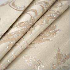 Маломеры Портьерная ткань с люрексом 150 см Х7187 цвет 15 светло-бежевый вензель 1,7 м