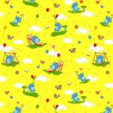 Ткань на отрез бязь ГОСТ детская 150 см 315/5 Слоники желтый