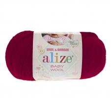 Пряжа ALIZE BABY WOOL 390-вишня (40% шерсть 20% бамбук 40% акрил)