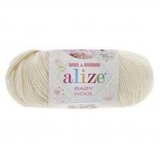 Пряжа ALIZE BABY WOOL 01-кремовый (40% шерсть 20% бамбук 40% акрил)