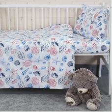 Постельное белье в детскую кроватку из бязи 8123 Ракушки