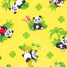 Вафельное полотно набивное 150 см 375/3 Панда цвет жёлтый