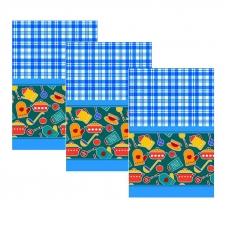Набор вафельных полотенец 3 шт 35/75 см 431/1 Кухня цвет синий