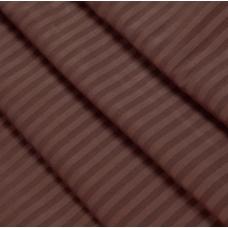 Ткань на отрез страйп сатин полоса 1х1 см 220 см 120 гр/м2 цвет 896/2 шоколад