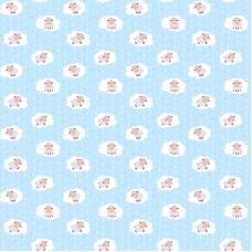 Ткань на отрез фланель 90 см 18784/2 Овечки цвет голубой