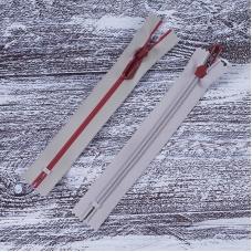Молния водостойкая №7В4 полоса блеск н/р 18см серый 225/красный 171