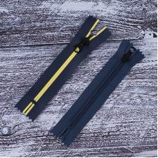 Молния водостойкая №7В5 полоса матовый н/р 16см темно синий 058/желтый 001
