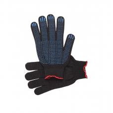 Перчатки рабочие с ПВХ 10-й класс черные 4-х нитка (Точка)