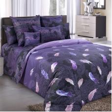 Ткань на отрез сатин набивной 220 см 203585 Дуновение основа 5 фиолет.