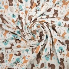 Ткань на отрез кулирка R4113-V1 Лесные звери