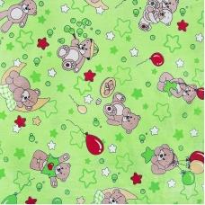 Бязь 120 гр/м2  детская 150 см 350/2 Мишки зеленый