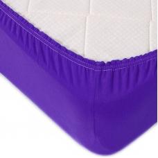 Простыня трикотажная на резинке Премиум М-2049 цвет фиолетовый 90/200/20 см