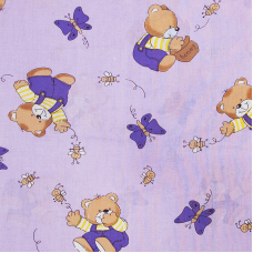 Ткань на отрез бязь 120 гр/м2  детская 150 см 1332/3 За медом цвет сиреневый
