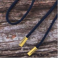 Шнурок 130см темно синий D058 / желтый D001 уп 2 шт