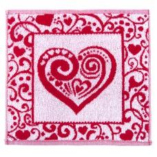 Салфетка махровая 3877 Сердечко ажурное 30/30 см цвет красный