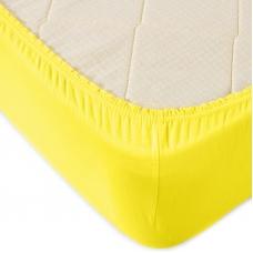 Простыня трикотажная на резинке Премиум М-2021 цвет желтый 120/200/20 см