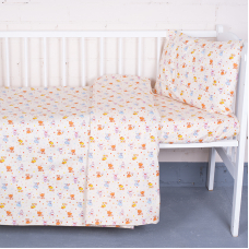 Постельное белье в детскую кроватку 5318/2 Малыши цвет бежевый перкаль с простыней на резинке