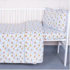 Постельное белье в детскую кроватку 5325/1 Мишка на луне перкаль с простыней на резинке