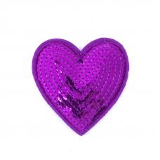 Термоаппликация ТАП 049 сердце фиолетовое 7*6см