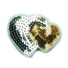 Термоаппликация ТАП 059 сердца серебро-золото 6,5см
