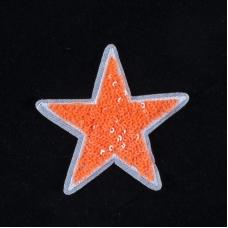 Термоаппликация ТАП 060 звезда оранжевая 8см