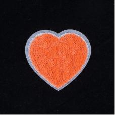 Термоаппликация ТАП 061 сердце оранжевое 6*5см