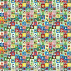 Ткань на отрез рогожка 150 см 30167/4 Новогодняя мозайка
