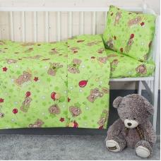 Постельное белье в детскую кроватку из бязи 350/2 Мишки зеленый ГОСТ