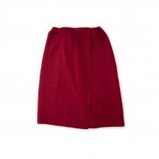 Вафельная накидка на резинке для бани и сауны Премиум женская с широкой резинкой цвет 066 бордо