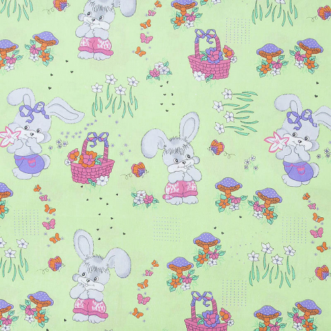 Ткань на отрез бязь 120 гр/м2  детская 150 см 1304/3 Лесная сказка цвет зеленый