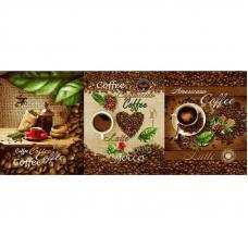 Ткань на отрез вафельное полотно набивное 150 см 554/1 Кофе