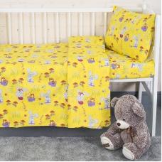 Постельное белье в детскую кроватку 1304/5 Лесная сказка желтый с простыней на резинке