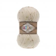 Пряжа ALIZE SUPERLANA MIDI PULLU 62-молочный (5% полиамид 5% паетки 23% шерсть 67% акрил)