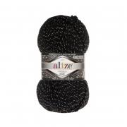 Пряжа ALIZE SUPERLANA MIDI LUX 60-черный (3% металлик 24% шерсть 73% акрил)