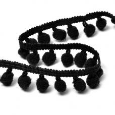 Тесьма с помпонами TBY-ТP-20 ширина 15-20 мм (упак 10 м) цвет F322 (031) черный